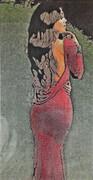 George Traicheff, Lady in Red, stone lithograph