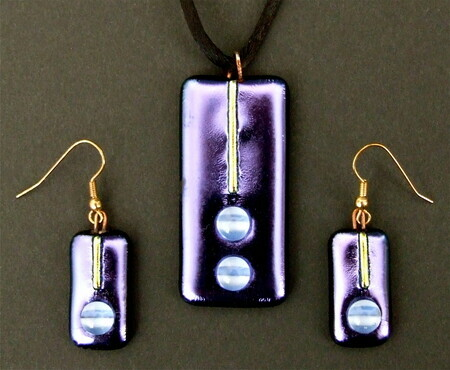 Tony Mayo Dichroic Glass Necklace & Earrings